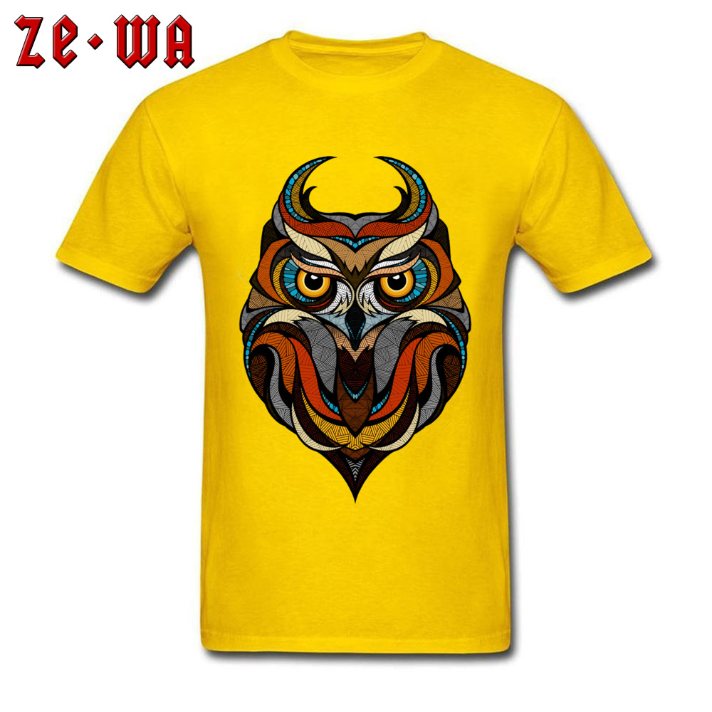 Customized Decorative Owl Mens T-Shirt 2018 Summer Short Sleeve Crewneck 100% Cotton Tops T Shirt Printing Tops T Shirt Decorative Owl  yellow