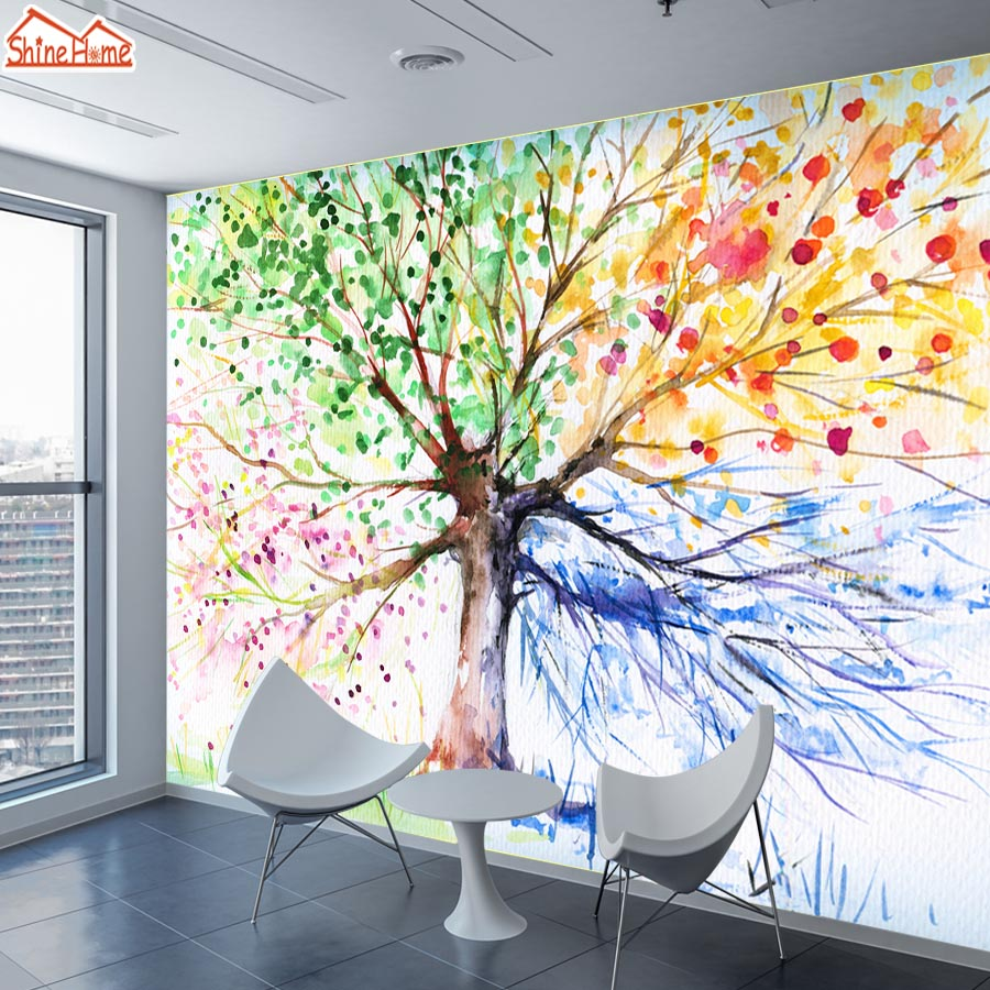 ShineHome Customized Abstract Tree Season Chinese Ink Floral Wallpaper 3d Wall Murals Rolls Paper Wallpapers For 3 D Living Room In From Home