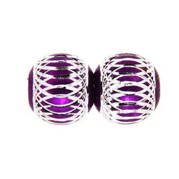 500 pcs purple aluminium round diy spacer beads 14 mm