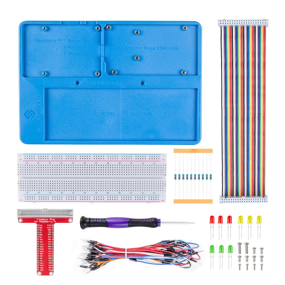 SunFounder RAB Holder Kit with 830 points solderless circuit board Jumper Wires LED Resistors for Arduino Raspberry Pi 3B+SunFounder RAB Holder Kit with 830 points solderless circuit board Jumper Wires LED Resistors for Arduino Raspberry Pi 3B+