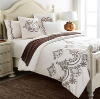 Luxury embroidery bed set,full queen king cotton adult western solid color home textiles flat sheet pillow case comforter cover