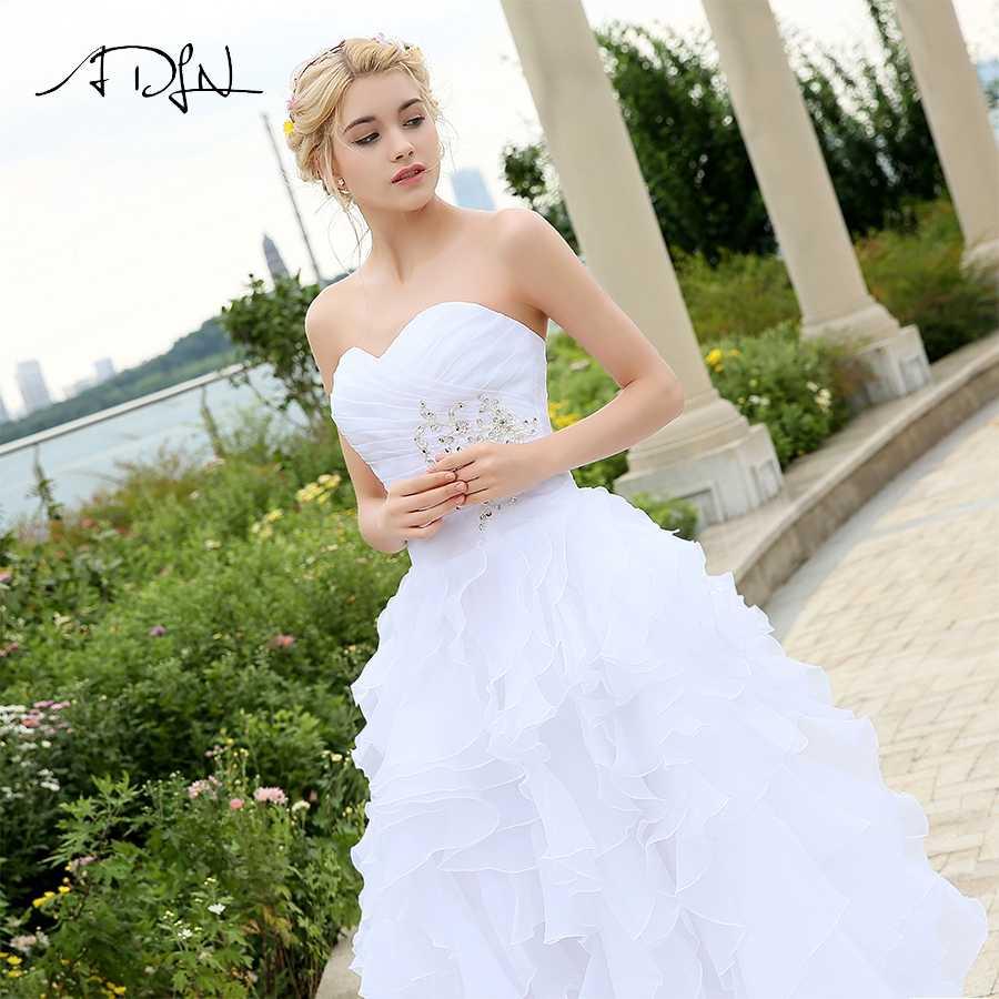 ADLN Cheap Stock Wedding Dress Vestido De Noiva Sweetheart Sleeveless Ruffles Organza A-line Corset Wedding Gowns robe de mariee