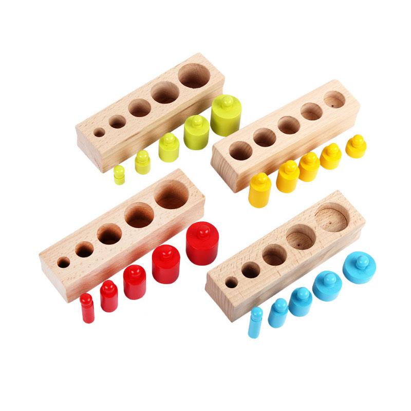 Coloridos bloques de cilindros de madera Montessori juguetes de madera para niños juguetes educativos para niños cumpleaños niños