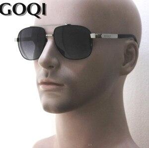 Image 1 - 무료 배송, goqi man 빈티지 금속 프레임 직사각형 편광 선글라스, 60mm 편광 된 운전 남자 uv400 선글라스,