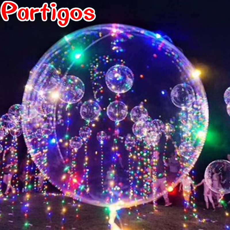 60pcs Transparent Bubble 18 24inch PVC Led Balloon 3M LED Air Balloon String Light Wedding Birthday