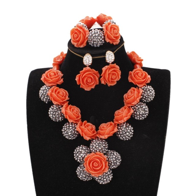 Dudo Jewelry African Necklace Silver Balls Orange Coral Flower Beads Nigerian Wedding Dubai Necklace Set Free Shipping 2019 New