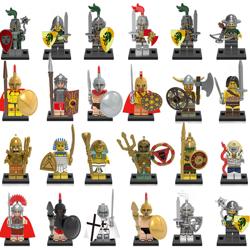 Roman Knight Soldier Army Building Blocks Set Medieval Superhero Game Of Throne Model Figure Knight Brick Toys For Children Gift