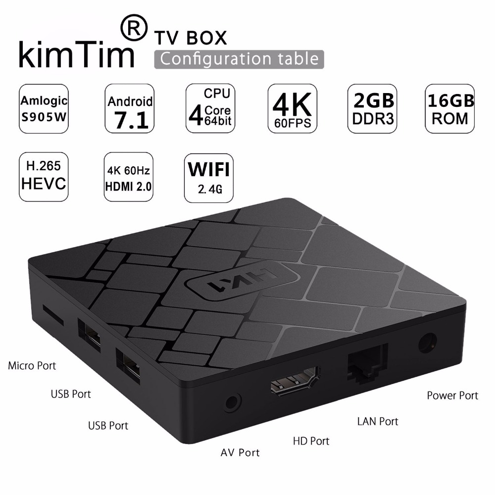 KimTin HK1 TV BOX Android 7.1 2 Go 16 Go Amlogic S905W Smart Box Set Box Box H.265 4K HDMI 2.4G WiFi Lecteur multimédia PK X96