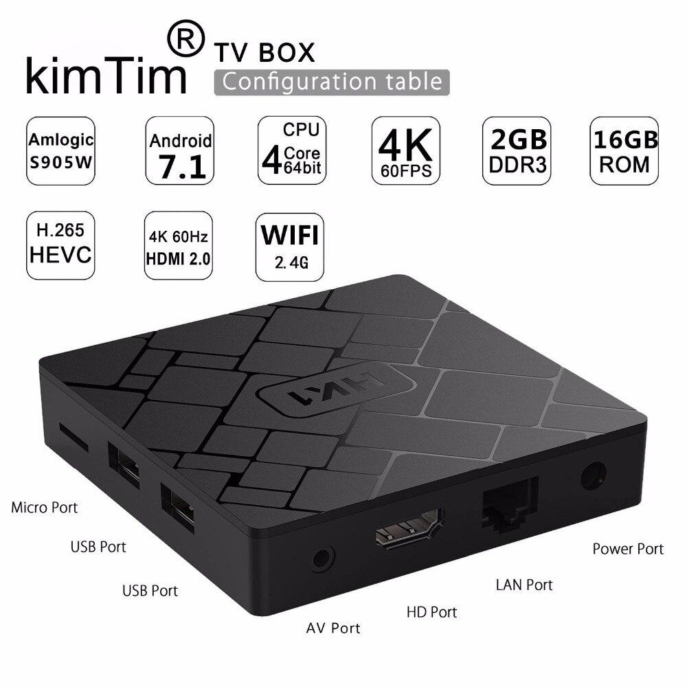 KimTin HK1 TV BOX Android 7.1 2GB 16GB Amlogic S905W Quad Core Smart TV Set Box H.265 4K HDMI 2.4G WiFi Media Player PK X96