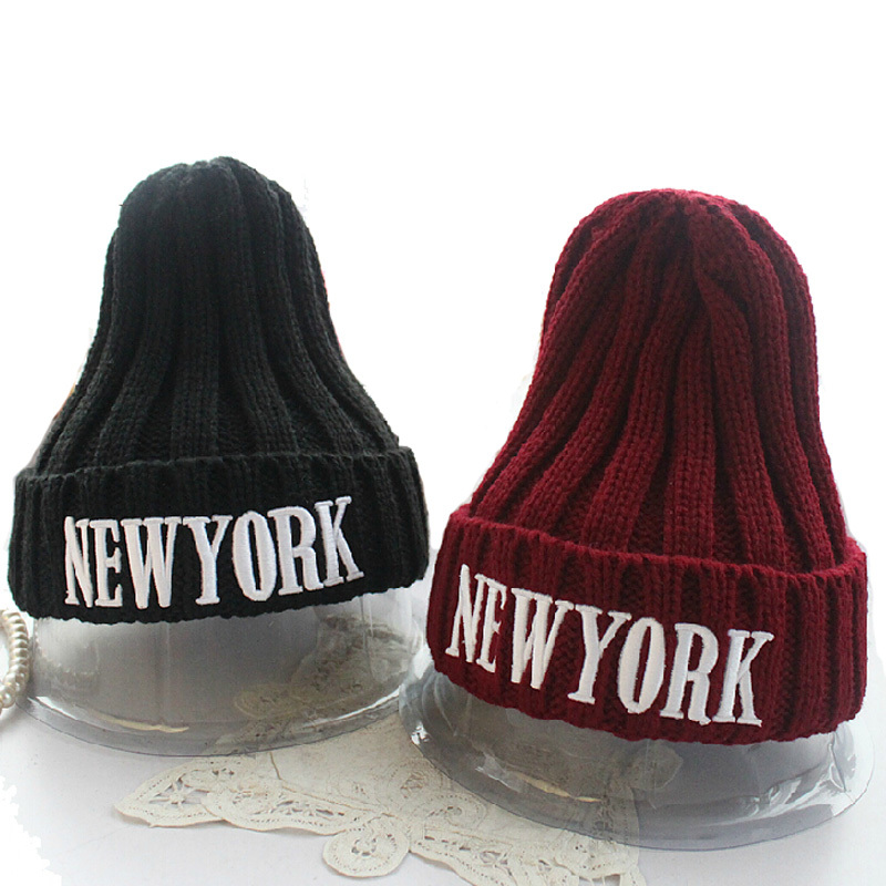 New York Hats for Women Knit Solid Color Winter Skullies & Beanies Top Quality Hip Hop Letter Thick Caps for Female Gorras rosicil skullies beanies winter hats for women letter beanies women hip hot caps skullies girls gorros women beanies female