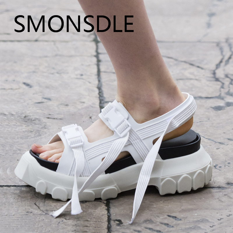 New Fashion 2018 Summer Black White Green Genuine Leather Women Sandals Casual Gladiator Shoes Woman Buckle Strap Platform Shoes women creepers shoes 2015 summer breathable white gauze hollow platform shoes women fashion sandals x525 50