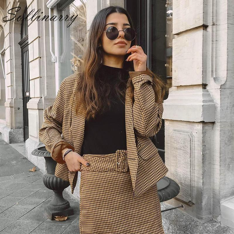 Sollinarry Streetwear Women Autumn Blazer Skirt Sets Long Sleeve Plaid Winter Chic Blazer Coats Female New 2 Pieces Casual Suits in Women 39 s Sets from Women 39 s Clothing