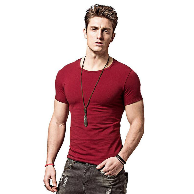 Covrlge 2017 Hot Summer Men camisetas Color sólido Slim Fit manga - Ropa de hombre - foto 3