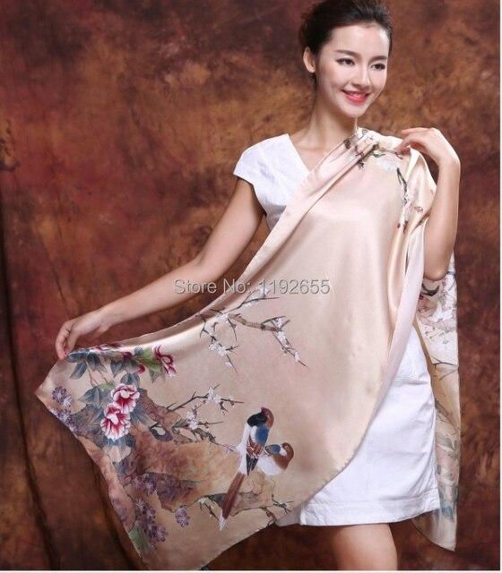a2a6f75d287c Shanghai Histoire Top qualité printemps été faux foulard de soie shanghai  histoire top marque soie pashmina