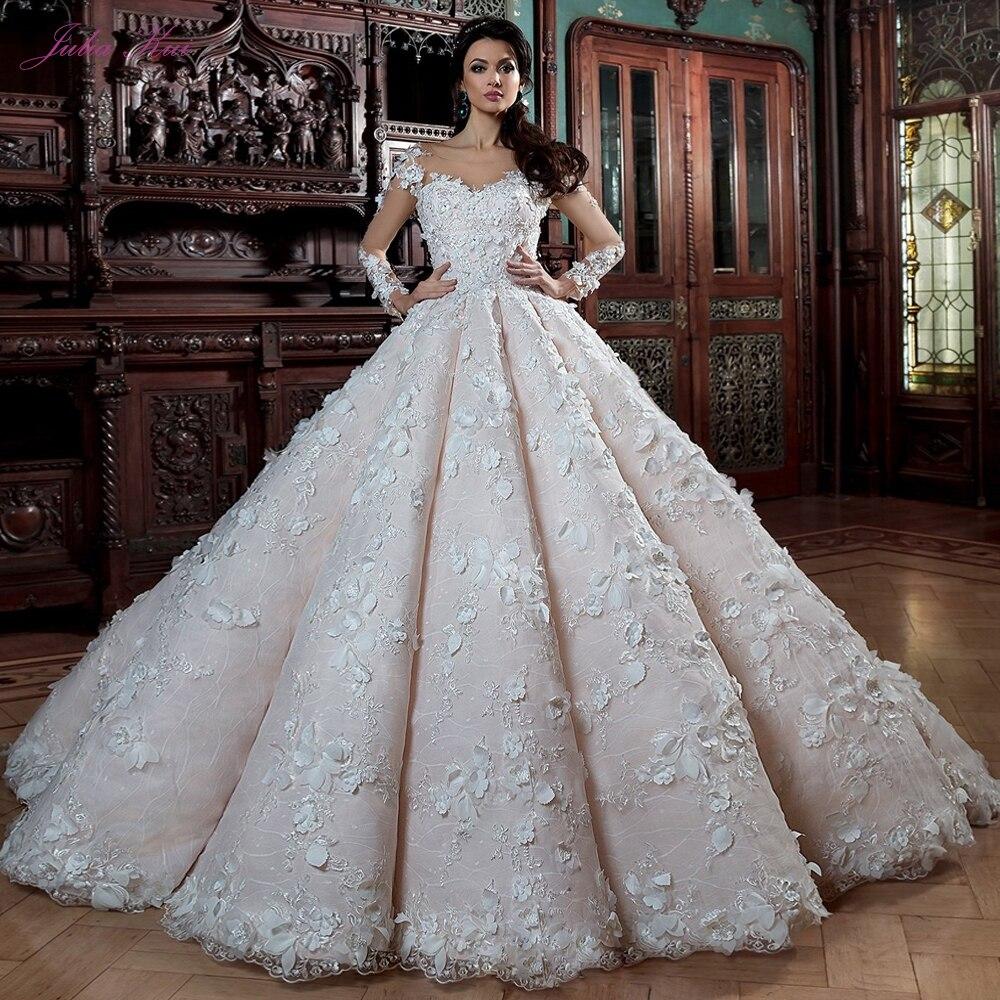 Julia Kui Vintage Full Sleeve Of Ball Gown Wedding Dresses Without Train Floor Length Princess Bride Dress Send Veil Gift