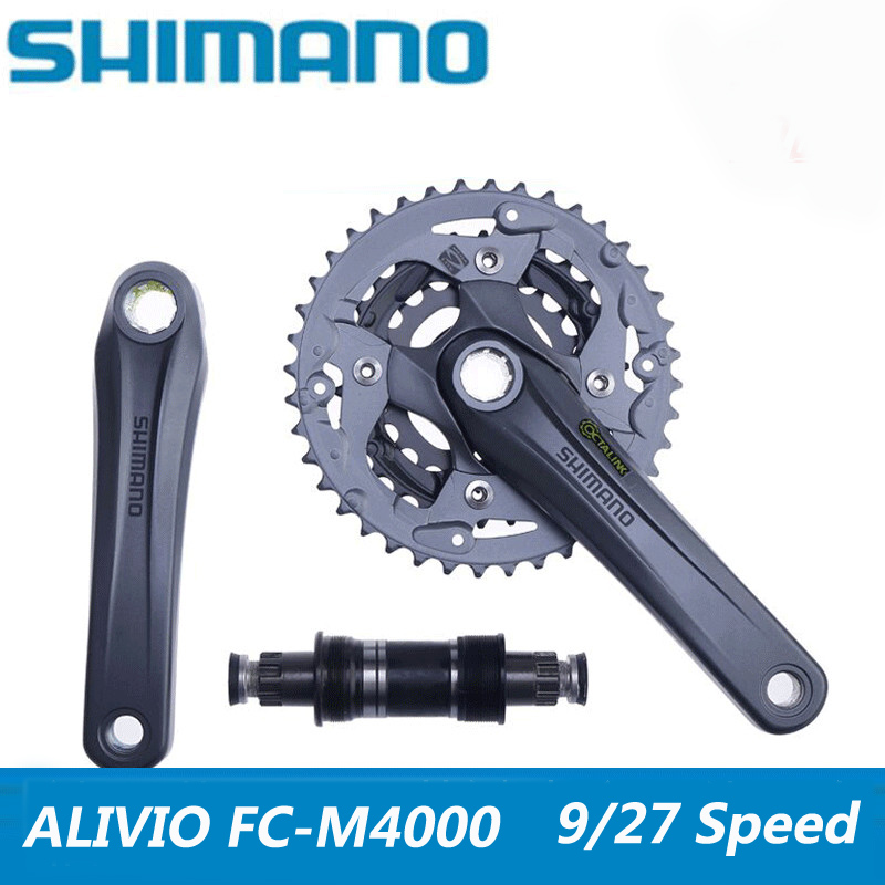 SHIMANO ALIVIO FC-M4000 mountain bike crank set aluminum alloy crank sprocket 40-30-22T MTB tooth plate including BB axis aluminum alloy bicycle crank chain wheel mountain bike inner bearing crank fluted disc mtb 104bcd bike part