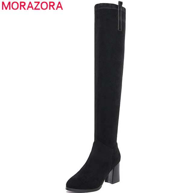MORAZORA Big size 34-41 cow suede leather boots for women over the knee boots top qaulity fashion shoes solid zip