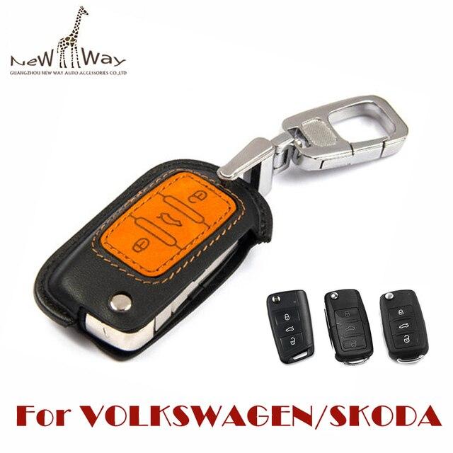 2015 Новый Кожаный Воловьей Ключа Автомобиля Защитная Крышка Ключа Автомобиля бумажник Брелок для Skoda Volkswagen Polo Jetta Passat Golf7 lamando