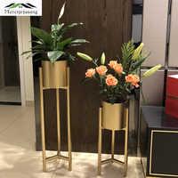 4 stks/partij Vazen Vloer Metalen Vaas Plantaardige Gedroogde Bloemen Houder Bloempot Road Lead voor Home/Wedding Gang decoratie G118