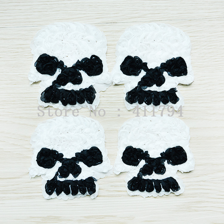 50 pcs / lots 3 '' halloween skull shabby chiffon flowers for headband