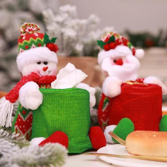 Merry Christmas Snowman And Santa Claus Toilet Roll Paper Holder Bathroom Tissue Napkin Boxes Paper Cover Home Decoration