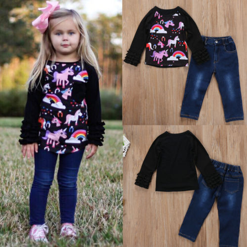 2pcs Kids Baby Girls Fashion Clothes Spring//Autumn long sleeve Tops+Pants Sets