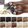 Virgen brasileña Micro anillo extensiones del pelo 1 g Remy Micro enlace perlas extensión del pelo humano recto sedoso de la queratina fusión Hai