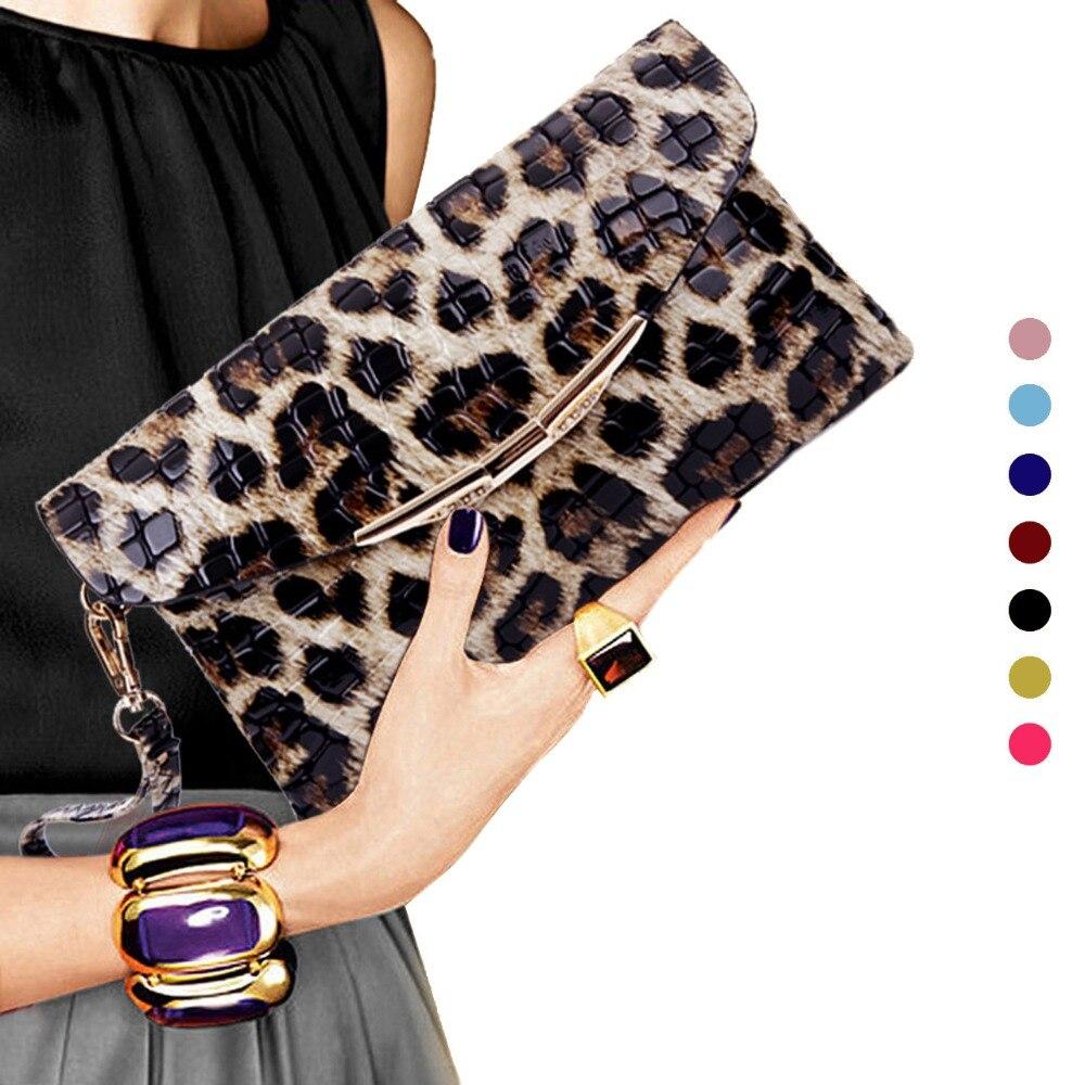 Woman Evening Bag Leopard Wallet Wedding Party Banquet Shoulder Bag Fashion Clutch Purse Evening Bags PT1100