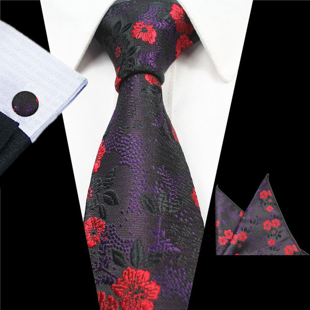 be1a70824ef2e Mens Purple Paisley Silk Jacquard Dot Neck Ties Stylish Striped Tie Hanky  Cufflinks Set Business Party