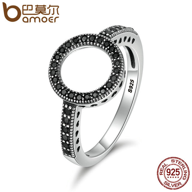 BAMOER 100% Genuine 925 Sterling Silver 2 Colors Forever Clear CZ Round Finger R