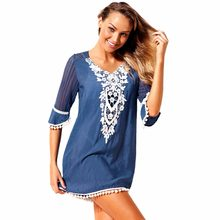 2018 Sexy Women Beach Holiday Crochet Lace Hollow Out Half Sleeves Loose Vestidos Swimwear Summer Mini Dresses Beachwear Pareos(China)