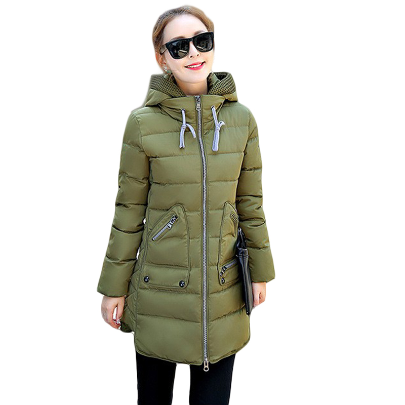 2017 New Winter Jacket Women Silm Warm Coat Middle-Long Thicken Down Jacket Women Hooded Winter Parka Women Plus Size 7XL CM446 snowka down parka winter jacket women 2016 famous brand white down jacket thicken women coat warm hooded outwear belt silm parka