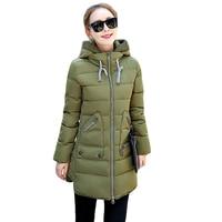 2016 New Winter Jacket Women Silm Down Coat Middle Long Thicken Down Jacket Women Hooded Winter