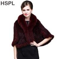 HSPL Wholesale Europe Hot sale Genuine fox fur trim knitted Women mink fur poncho shawl