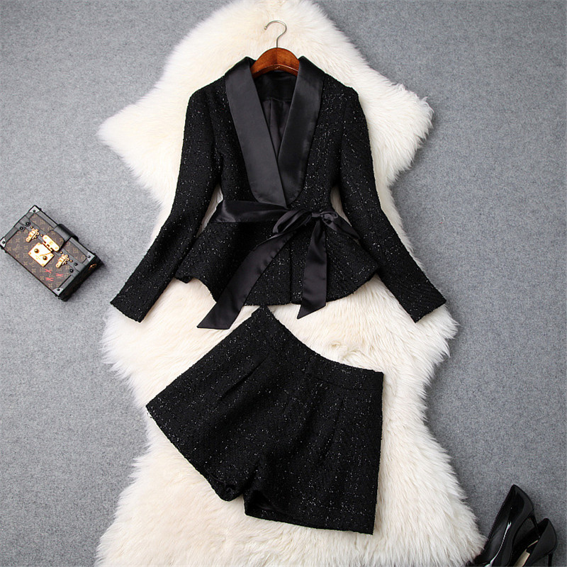 Top Brand Fashion Winter 2Pcs Suit Set 2018 Women Designer Long Sleeve Tweed Woolen Jackets and Shorts Suit Set Lady Office Set