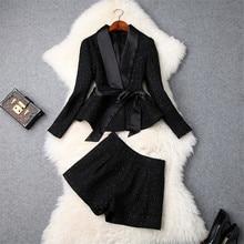 Tweed Woolen Jacket and Shorts Suit Set