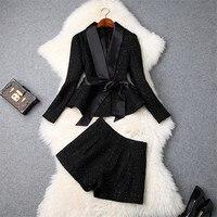 Top Brand Fashion Winter 2Pcs Suit Set 2018 Women Designer Long Sleeve Tweed Woolen Jackets and Shorts Suit Set Lady Office Set