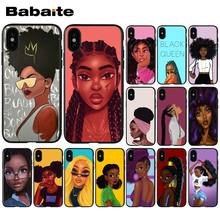 Babaite africano beleza afro puffs preto menina de alta qualidade caso telefone para apple iphone 8 7 6 s plus x xs max 5 5S se xr capa(China)
