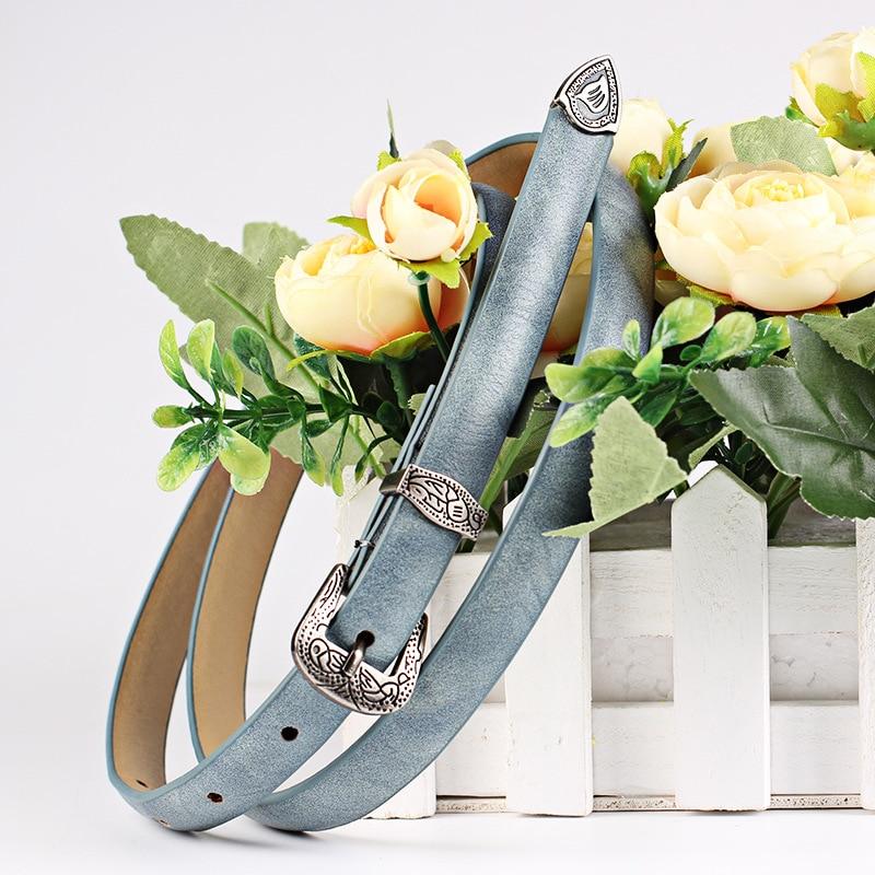KAWEIDA 2018 Women's Accessories Female Thin Flower Printing PU Leather Vintage Engraving Pin Buckle   Belts   Ladies Casual   Belt