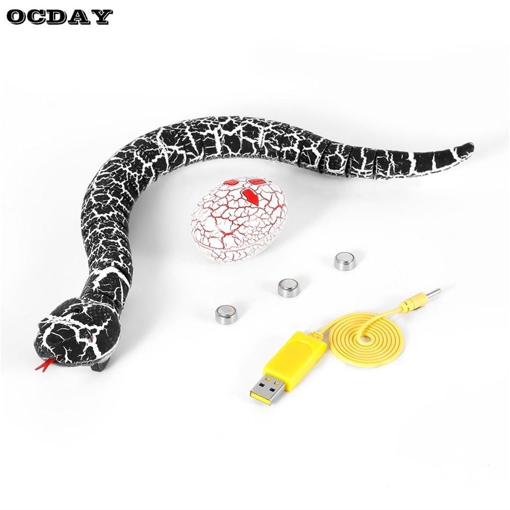 OCDAY RC Snake And Egg Emote Control Rattlesnake Animal Trick Terrifying Mischief Toys For Children Funny Novelty Gift New Hot
