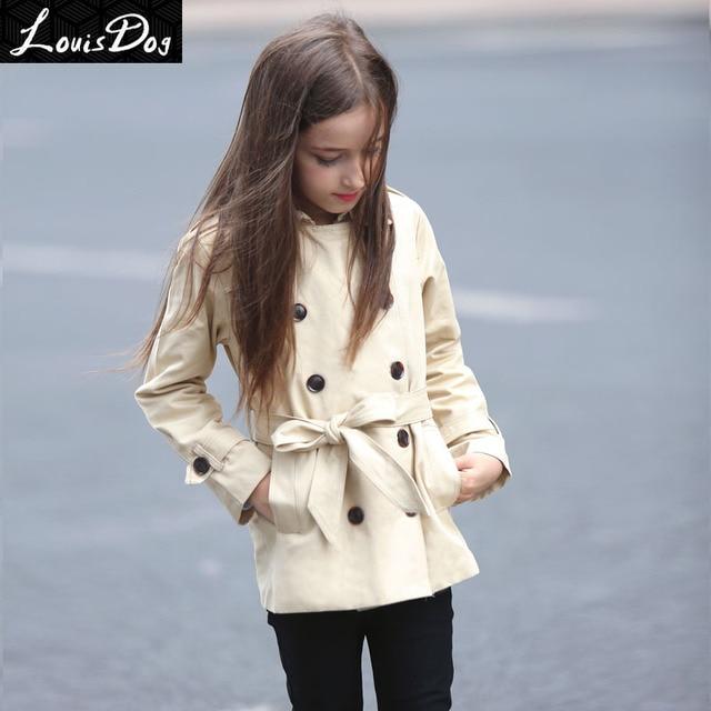 LouisDog double breasted belted trench coat  Khaki size 6-16Y
