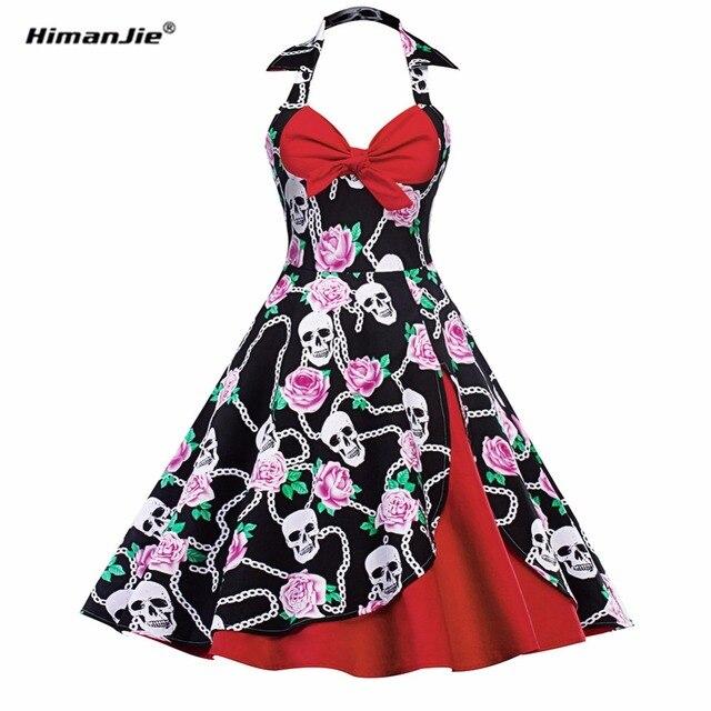 Himanjie skull printed dress women punk strapless halter party dresses bowknot clothing big swing cotton autumn vestidos robe