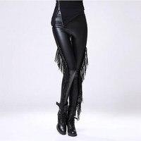 Gotik Leggins Seksi Legging Gothique Punk Rock Püskül Fringe Kürk İç Ile Steampunk Bayanlar Sıcak Tozluk Kadife Tayt 2017
