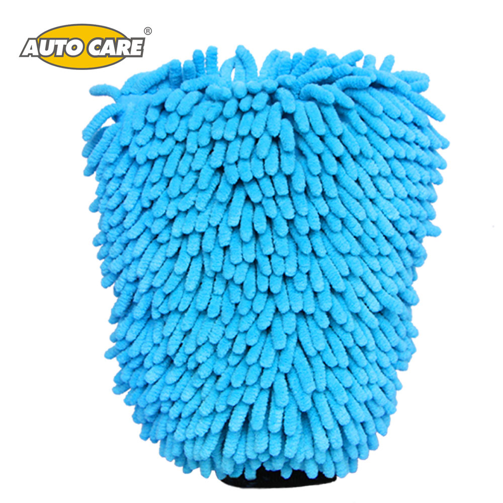 Auto Care 2 in 1 Ultrafine Fiber Chenille Microfiber Car Wash Glove Mitt Soft Mesh backing no scratch for Car Wash and Cleaning