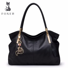 hot deal buy foxer brand women's leather handbag fashion female totes shoulder bag high quality handbags