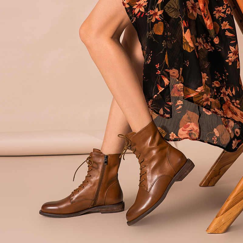 BeauToday yarım çizmeler kadınlar hakiki deri Lace-Up yan fermuar en kaliteli sonbahar kış bayan ayakkabı el yapımı 02012