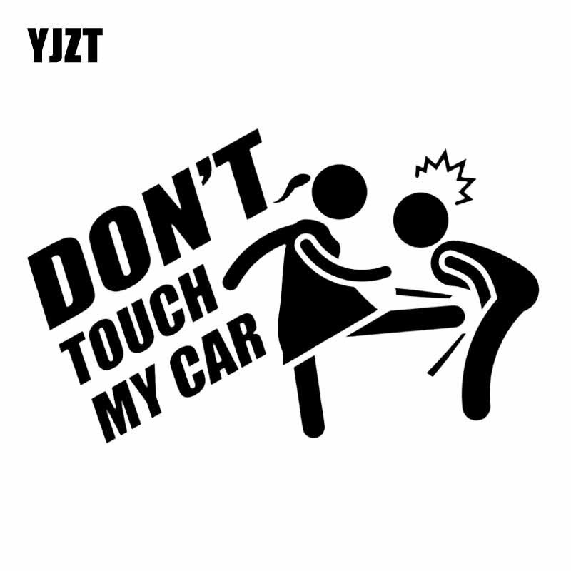 YJZT 15, 7 х9, 6 см, не касайтесь моего автомобиля, Виниловая наклейка, автомобильная наклейка Jdm, забавный мультяшный черный/серебристый цвет