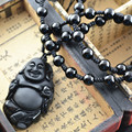 Popular Natural Black Obsidian Stone Laughing Buddha Lucky Pendant Black Round Beads Chain Necklace Women Jewelry 5pc/lot