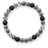 Beautifully Detailed Hot Silver Plated Matt Black Obsidian Beads Bracelet Thomas Style Rebel At Heart Fashion
