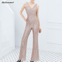 Elegant Long Black Jumpsuit Sequins Deep V Backless Front Sexy Jumpsuits For Women 2019 Office Wide Leg Pants Rompers Playsuits